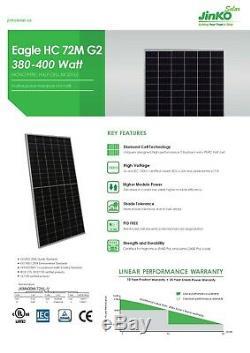 40 X 400 Watts Jinko Mono Panneaux Solaires Nouveaux Gros! Niveau 1 Grade A