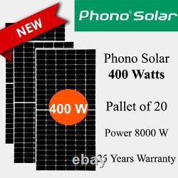400 Watt Phono Solar Panel -ps400m1h-24/th Palette De 20 Puissance Totale 8 Kw
