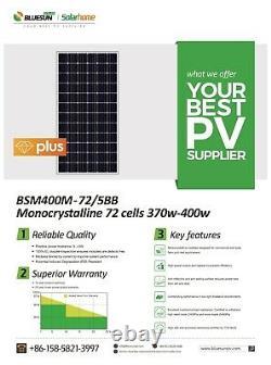 400w Panneaux Solaires Bluesun Mono Lot 27 (1 Palette) 72 Cellule 400 Watt Panneau