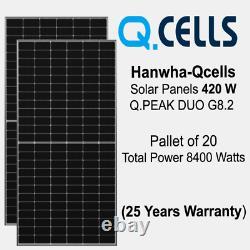 420 Watt Q Cellule Mono Duo Cell Panel Solaire G8.2 Palette De 20 Puissance 8400 Watts