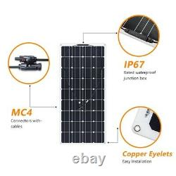 600w 500w 300w 250 Watt Panneau Solaire Monocristallin Chargeur De Batterie De Voiture Rv 18v