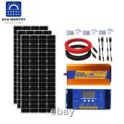 600w Watt 12v Panneau Solaire Kit 1kw Hors Réseau Onduleur 60a Contrôleur 200ah Batterie