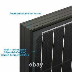 Acopower 2x100 Watts Monocrystallin Tout Panneau Solaire Noir 200w