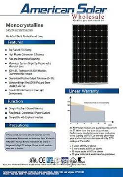 Américains Solaires En Gros 280w 20 Pièces (5600 Watts) Mono Panneaux Solaires