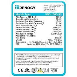 Brand New Renogy Panneau Solaire Monocristallin De 100 Watt 12 Volt (conception Compacte)