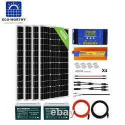 Eco 400w Watt 24v Solar Panel Kit 200ah Batterie Pour Remorque À Domicile Rv Bateau