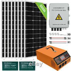 Eco 600w 800w 1200w Watt Kit Complet Panneau Solaire Pour Home Farm Rv Marine