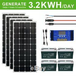 Eco 800w 400w Watt Kit Panneau Solaire 100ah amp-hour Batterie Rv Marine Us Camping