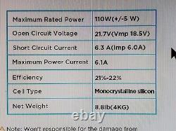 Ecoflow 110watts Efsolar110n Panneau Solaire Pliant Étanche