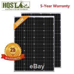 Hqst 200w 2pcs 100 Watt 12v Mono-cristallin Panneau Solaire Rv Marine Accueil Off Grid
