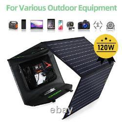 Kit De Panneau Solaire Pliable De 120 Watts Pour Centrale Électrique, Ordinateur Portable De Charge De Batterie