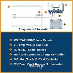Kit De Panneaux Solaires Hors Réseau De 200 Watts Pour L'utilisation Extérieure Rv Boat Truck 12 Volts Charge