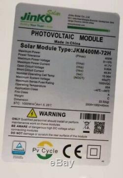 Lot De 10 Jinko 400w Panneaux Solaires Mono 400 Watts Certifié Ul