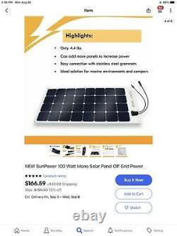 New Sunpower 100 Watt Mono Solar, Hors Réseau D'alimentation Inscription Est Pour Trois Panèles