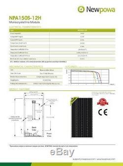 Newpowa 150w Watt Monocristallins Panneau Solaire 3ft Câble Avec Connecteur Hors Réseau