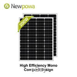 Newpowa 2-100w 200w Watt Panneau Solaire Monocristallin Grille Kit Pour Off Rv Boat