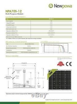 Newpowa 70 Watt Mono Système Solaire Panneau De Charge De La Batterie Solaire De Kit Marine Rv