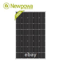 Newpowa Panneau Solaire 240 Watt Mono 200w Pour 12v Système Hors-grid Rv Toit Marine