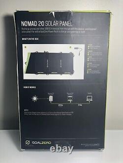 Objectif Zero Nomad 20 Panneau Solaire 20 Watt Pliable Power Charge Pad Randonnée Yeti