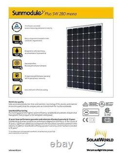 Palette Utilisé American Made Solarworld 280 Watt Mono Panneaux Solaires. Livraison Gratuite