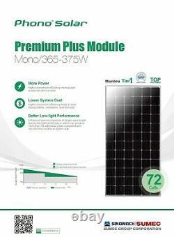 Panneau Solaire 370 Wattmeilleur Prix. 39 Cents Par Watt 72 Cell Mono Haute Performance