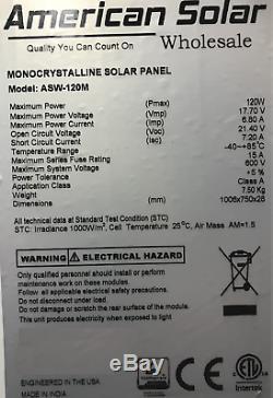 Panneau Solaire Américain 100 Watt 12v 100w Pv Hors Réseau Kit Rv Bateau Chargeur De Batterie