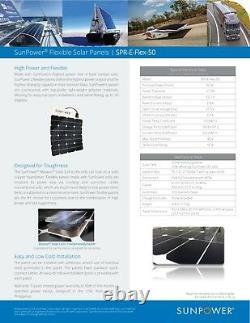 Panneau Solaire Flexible Sunpower 50 Watt. Haute Efficacité Pour Marine, Rv, Camping