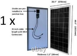Panneau Solaire Hors Réseau Polycrystalline 100-watt Pour Charge De Batterie 24/48-volt