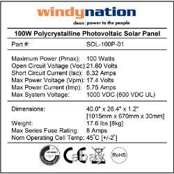 Panneau Solaire Hors Réseau Polycrystalline 100-watt Pour Charge De Batterie De 12 Volts