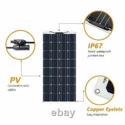 Panneau Solaire Monocristallin Cellule Flexible 12v 24 Volts 100 Watts Batteries Solaires