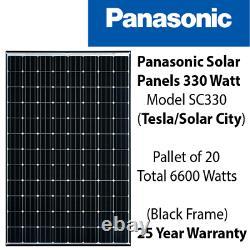 Panneaux Solaires Panasoniques De 330 Watt (96 Cellules) Palette De 20 / 6.6kw -solarcity-sc330