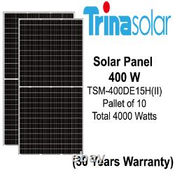 Panneaux Solaires Trina De 400 Watts -modèle Tsm-400de15h(ii) Palette De 10 Puissance 4 Kw