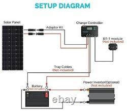 Renogy 100 Watts 12 Volts Monocrystallin Solar Panel Bundle Kit Avec 30a Negat