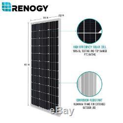 Renogy 100 Watts 12v Monocristallin Solaire Starter Kit 10a Contrôleur Pwm Charge