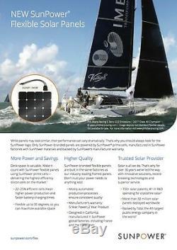 Sunpower 110 Watt Panneau Solaire Flexible. Haute Efficacité Pour La Marine, Rv, Camping