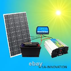 Système Solaire 100w Complete 220v + Battery 100ah Panel 1000w Camping Watt Garden